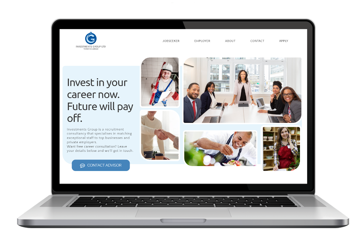 Investments Group website design by NetSwifter - mockup MacBook