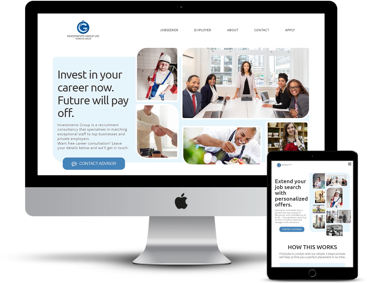 Investments Group website design by NetSwifter - mockup iMac & iPad