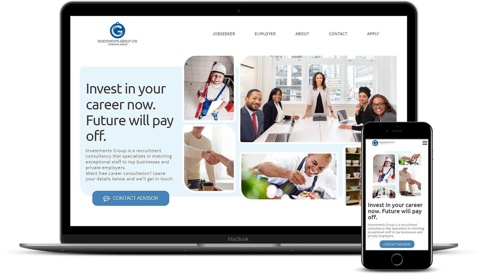 Investments Group website design by NetSwifter - mockup MacBook & iPhone